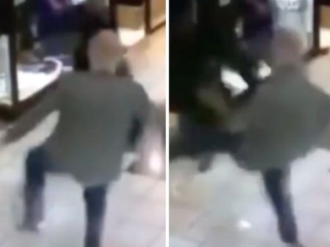 Elderly hero takes down thief with kick in dramatic footage