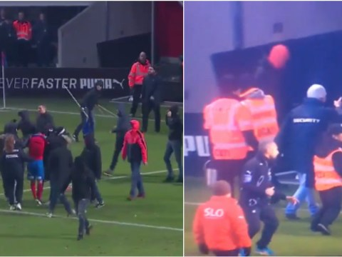 Video: Celtic legend Henrik Larsson's son has jersey ripped off his back after Helsingborgs were relegated