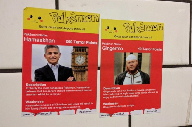 Racist 'Pakemon' stickers urging 'Deport them all' put up around London