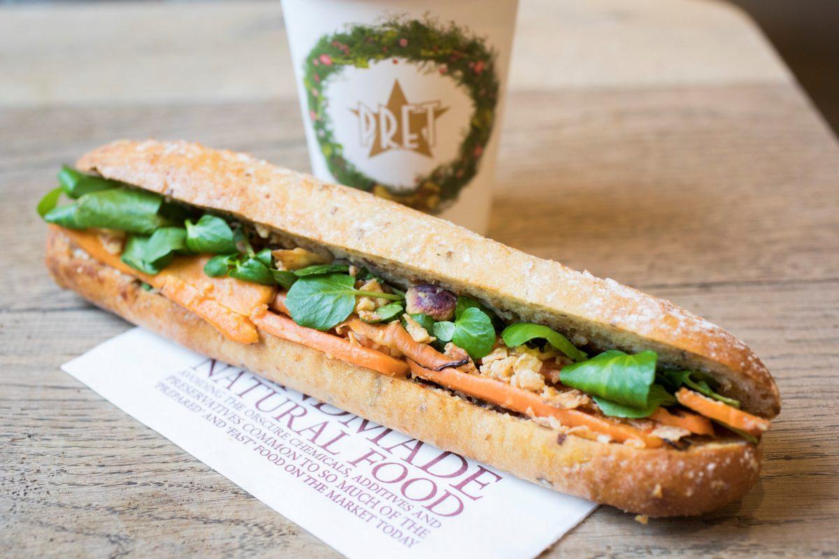 Pret a Manger's Christmas menu includes their first ever vegan Christmas baguette