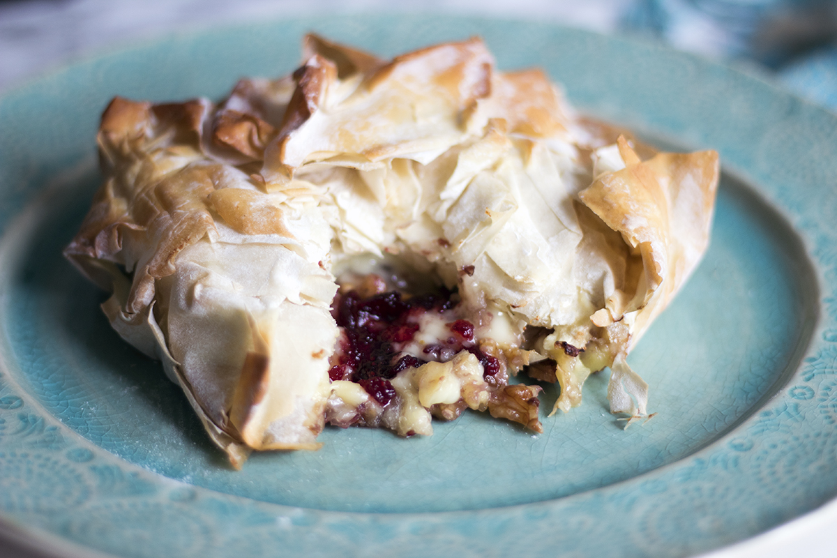 Wow your Christmas guests with this brie, walnut and cranberry filo parcel