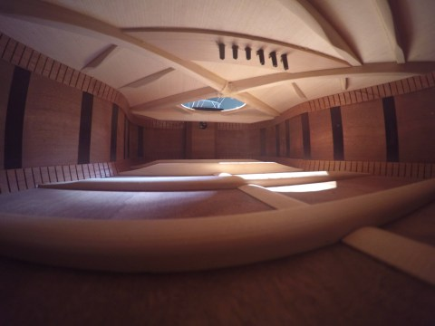 The inside of a guitar looks just like a luxury apartment