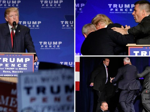 Donald Trump rushed off stage after someone yells 'gun'
