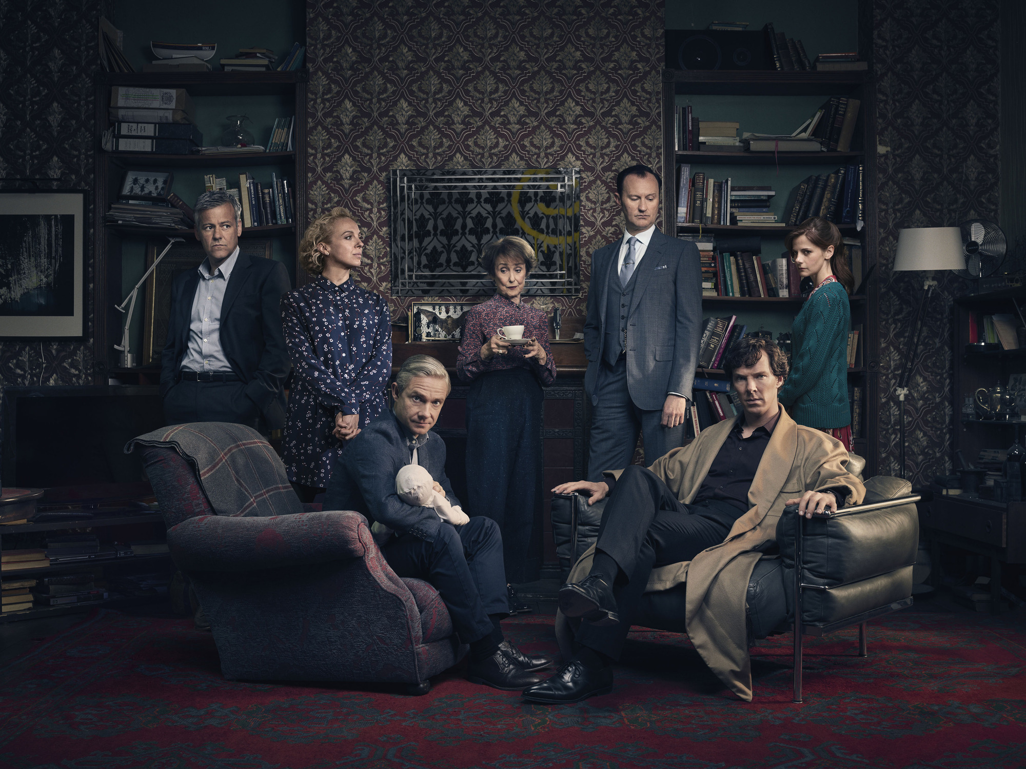 WARNING: Embargoed for publication until 00:01:00 on 18/12/2016 - Programme Name: Sherlock - TX: 01/01/2017 - Episode: Sherlock S4 - Generic (No. 1) - Picture Shows: (L-R) **STRICTLY EMBARGOED UNTIL 18TH DECEMBER** Detective Inspector Lestrade (RUPERT GRAVES), Mary Watson (AMANDA ABBINGTON), Dr John Watson (MARTIN FREEMAN), Mrs Hudson (UNA STUBBS), Mycroft Holmes (MARK GATISS), Sherlock Holmes (BENEDICT CUMBERBATCH), Molly Hooper (LOUISE BREALEY) - (C) Hartswood Films - Photographer: Todd Antony