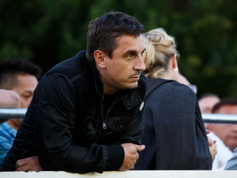 Gary Neville presented with a bag full of rubbish by disgruntled Salford City FC fan