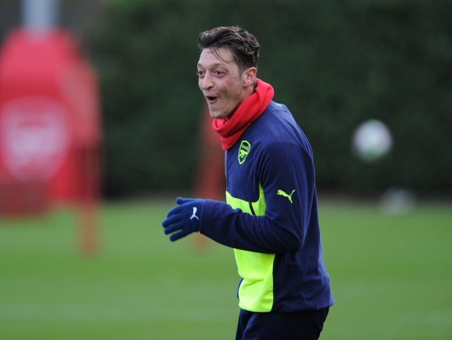 ST ALBANS, ENGLAND - NOVEMBER 22: Mesut Ozil of Arsenal during a training session at London Colney on November 22, 2016 in St Albans, England. (Photo by Stuart MacFarlane/Arsenal FC via Getty Images)