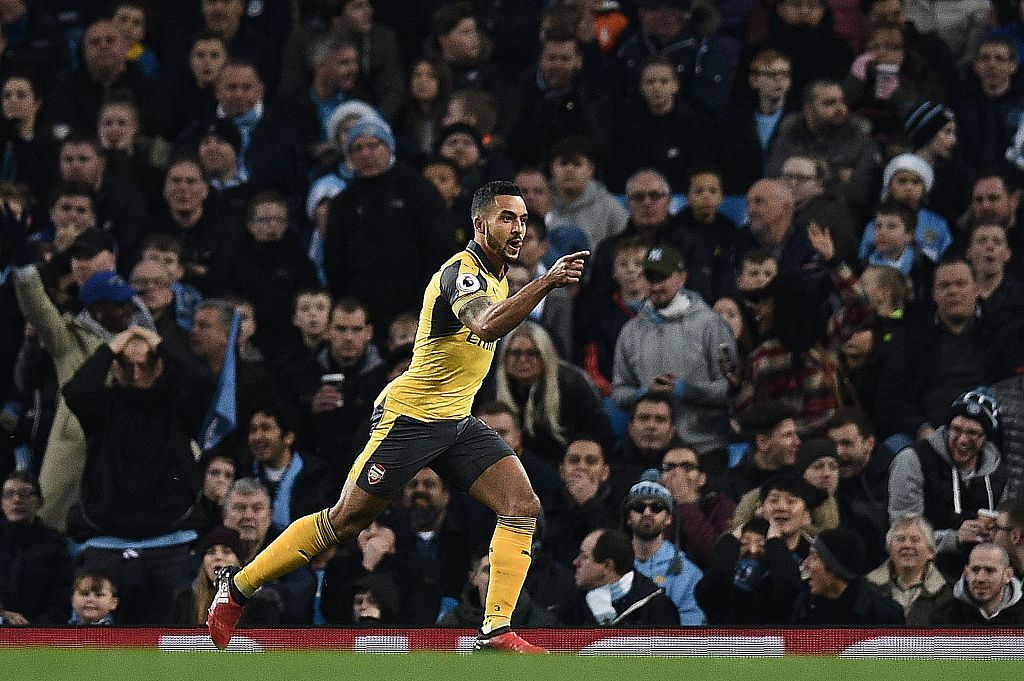Theo Walcott overtakes Robert Pires to become Arsenal's fifth highest Premier League scorer after Manchester City goal