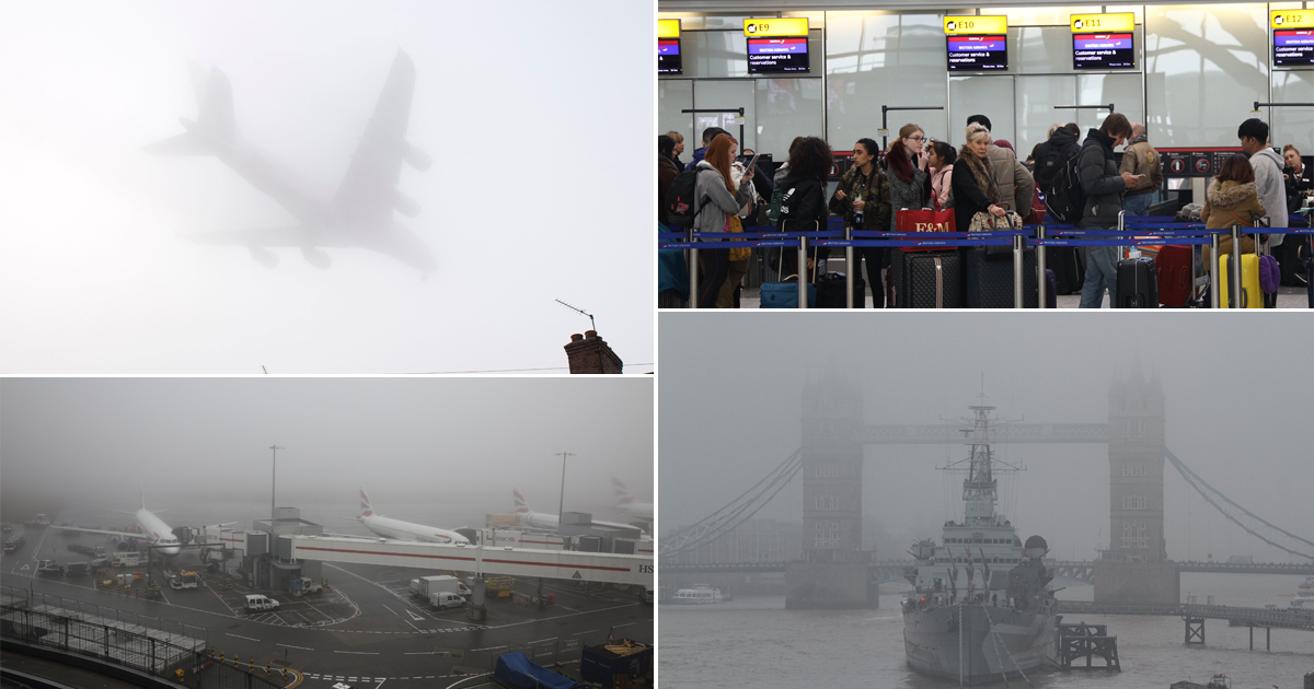 Fog chaos causes hundreds of flights to be cancelled wrecking New Year plans
