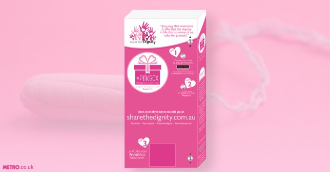 CHARITY DEBUTS FREE TAMPON VENDING MACHINES TO HELP WOMEN IN NEED Credit: Share The Dignity/Getty
