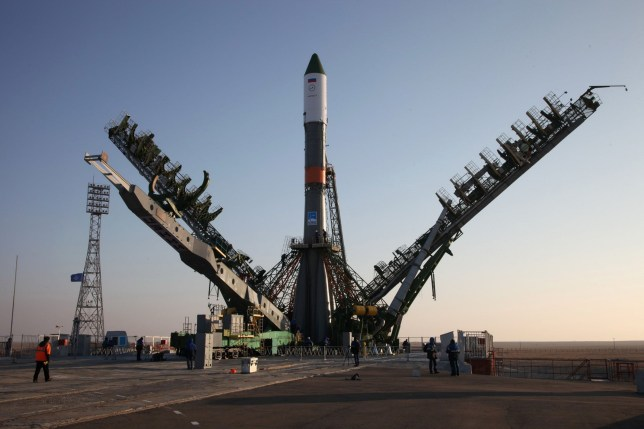 """Service towers move towards the Soyuz-U carrier rocket with the cargo ship Progress MS-04 lifted on the launch pad at the Russian-leased Baikonur cosmodrome in Kazakhstan on November 29, 2016. Russia's space agency said it had lost contact on November 30, 2016 with an unmanned cargo ship shortly after it blasted off to the International Space Station from the Baikonur cosmodrome in Kazakhstan. / AFP PHOTO / ROSCOSMOS / STRINGER / RESTRICTED TO EDITORIAL USE - MANDATORY CREDIT """"AFP PHOTO / SOURCE / BYLINE"""" - NO MARKETING NO ADVERTISING CAMPAIGNS - DISTRIBUTED AS A SERVICE TO CLIENTS STRINGER/AFP/Getty Images"""