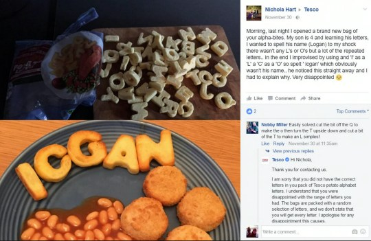Tesco complaint after potato letters fail to spell son's name