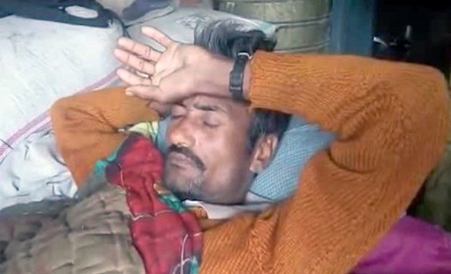 PIC FROM Caters News - (PICTURED: Ghasi Ram lay in pain) - A sexually frustrated man has chopped off his own genitals with a kitchen knife after cliaiming his wife hadnt slept with him for over a decade. Ghasi Ram, 37, from India, came home drunk and started pestering his wife Manjhri Devi, 34, for sex. But when she kept turning down his demands, the father of three lost his cool. In a fit of rage, he ran to the kitchen and stormed out with a knife in hand and before Manjhri could understand what was happening, he sliced off his manhood and collapsed on the floor. SEE CATERS COPY.
