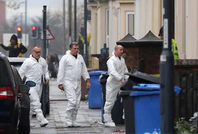DERBY, ENGLAND - DECEMBER 12: Forensics officers are seen attending a house on Leopold Street in Derby after reports of arrests under the Terrorism Act on December 12, 2016 in Derby, England. Six people have been arrested on suspicion of offences under the Terrorism Act. Four men and a woman have been arrested on suspicion of engaging in the preparation of an act of terrorism. (Photo by Christopher Furlong/Getty Images)