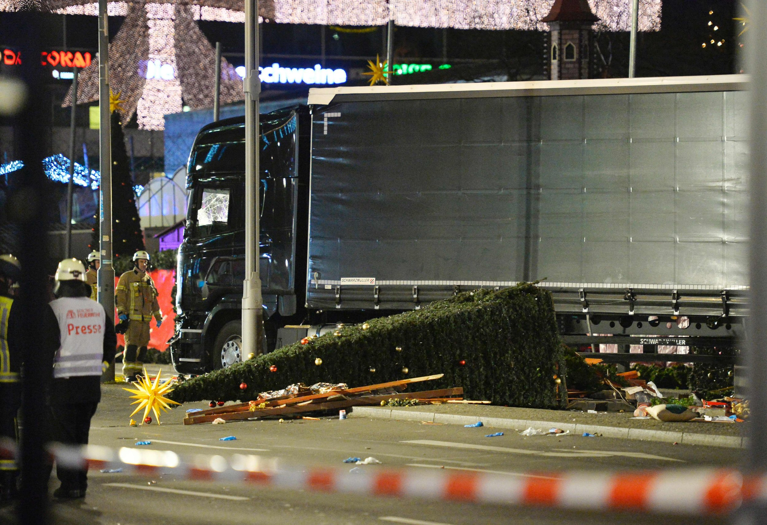 View of the truck that crashed into a christmas market at Ged¿chniskirche church in Berlin, on December 19, 2016 killing at least nine people and injuring at least 50 people. / AFP PHOTO / Odd ANDERSENODD ANDERSEN/AFP/Getty Images