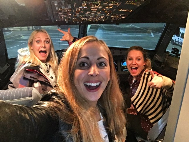 ***EMBARGOED UNTIL 16.00 GMT DECEMBER 22 2016*** L to R Sarah Hunt, Laura Stevens and Laurie-Lin Waller in the cockpit. Three women have told how they were treated like ërock starsí when they found themselves alone on a British Airways flight for ë150 peopleí on Saturday. See SWNS story SWBA; 34-year-old Laura Stevens tells how she and pals Sarah Hunt, 35, and Laurie-Lin Waller, 33, were upgraded to business class, glugged Champagne and took selfies in the cockpit on the 2.5 hour flight from Gibraltar to London Heathrow. Their flight was delayed so the trio - who paid just £80 for an economy return ticket - turned up late to the airport - only to find passengers who arrived at the scheduled time were squeezed onto an earlier flight. Laura and Laurie, who are television producers, and Sarah, a lawyer, were also treated to a three-course meal and posed for selfies with the captain of the BA flight. Laura, whoís from Sutton, London, says: ìIt was an amazing, once-in-a-lifetime experience that weíll never forget. ìWe felt like celebrities, especially when we were given Champagne ñ it was the best Christmas present ever, we couldnít believe how kind and lovely everyone was.î