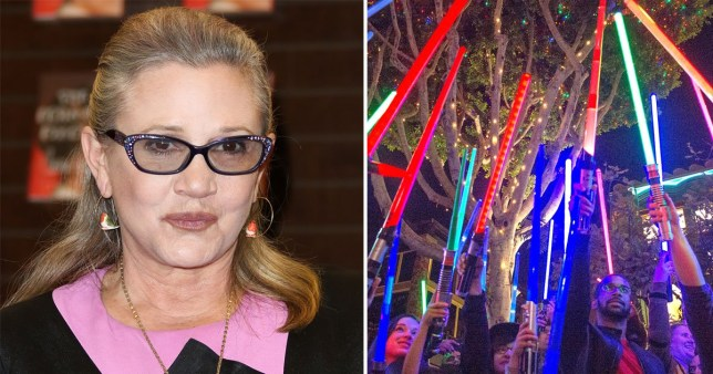 Lightsaber vigils across the United States have mourned the loss of Carrie Fisher (Picture: Getty/AP)