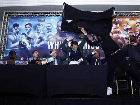 Dereck Chisora launches table at Dillian Whyte during ferocious press conference