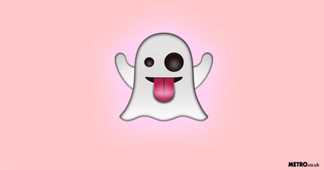 Ghost emoji on a pink gradient background