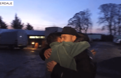 Emmerdale star Danny Miller welcomes Adam Thomas back to set in seriously bromantic video