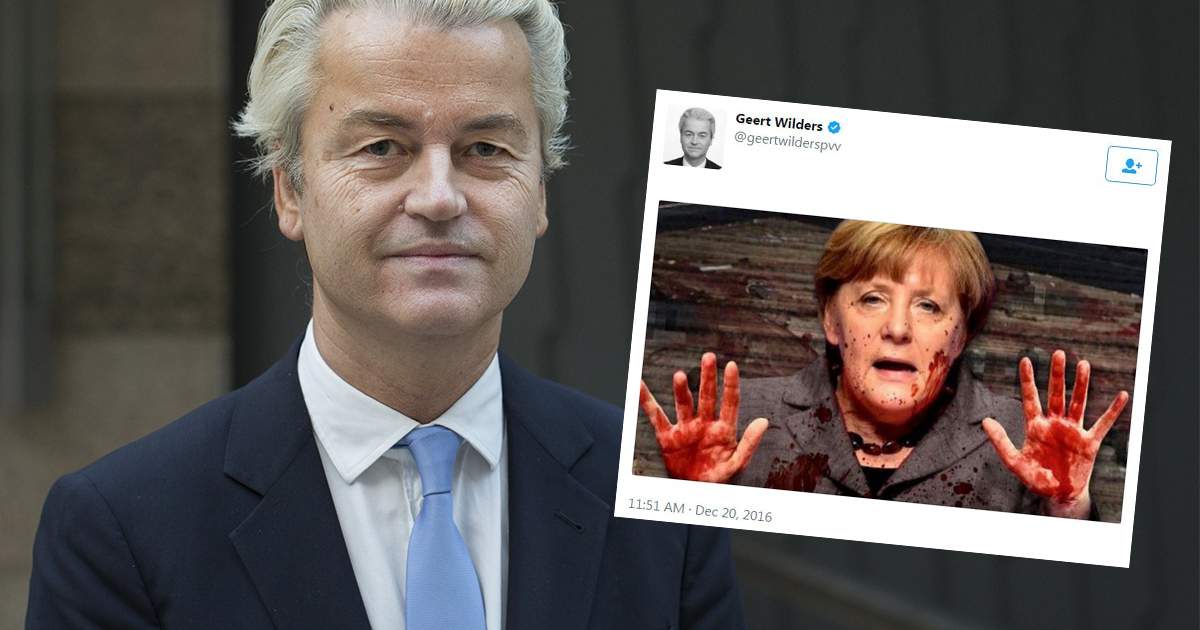 Dutch far-right leader tweets picture of Merkel with blood on her hands
