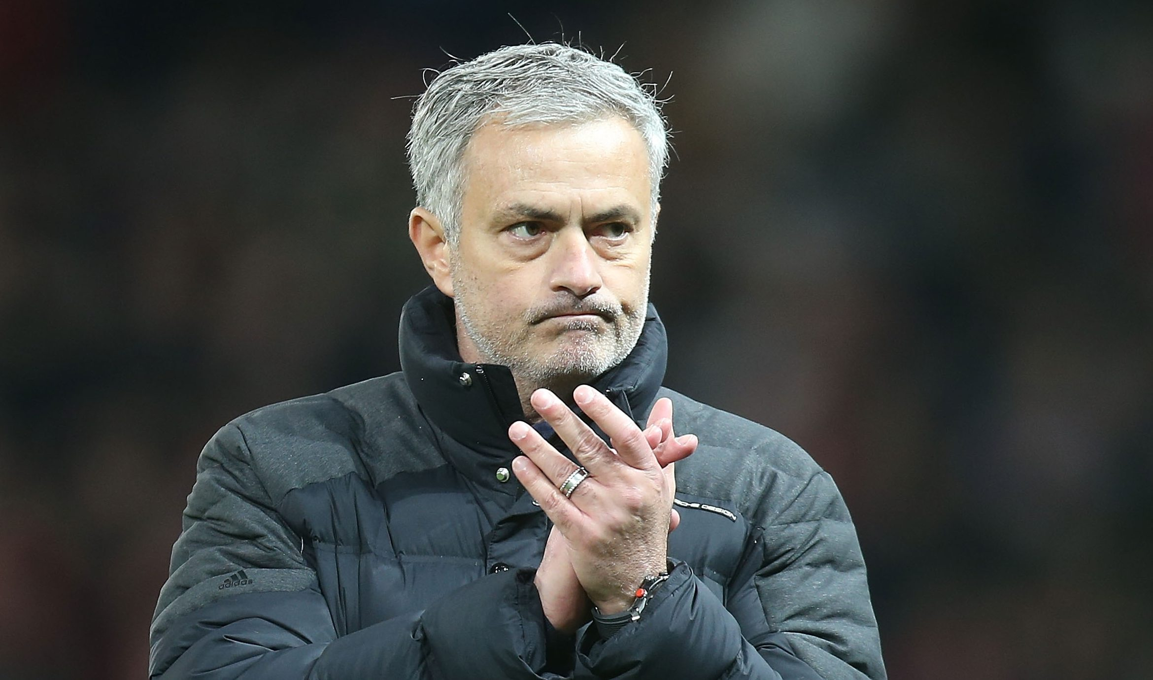 MANCHESTER, ENGLAND - DECEMBER 11: Manager Jose Mourinho of Manchester United applauds the fans after the Premier League match between Manchester United and Tottenham Hotspur at Old Trafford on December 11, 2016 in Manchester, England. (Photo by Matthew Peters/Man Utd via Getty Images)