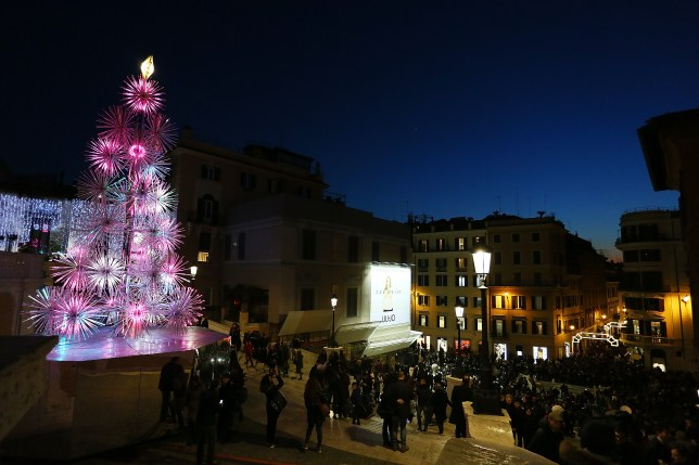 Christmas Tree of Piazza Di Spagna during Christmas time on December 18, 2016 in Rome, Italy (Picture: Getty)