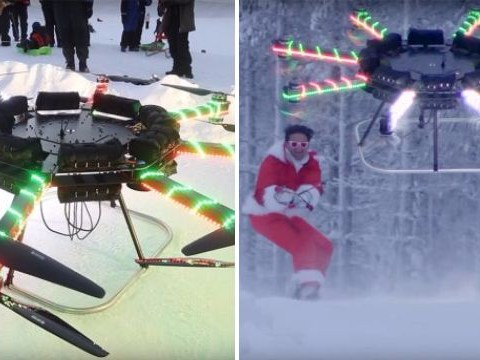 Santa ditches his sleigh to be lifted off the ground by a huge drone