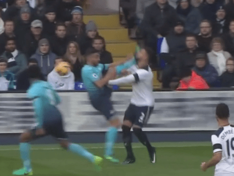 Tottenham's Kyle Walker almost had his head taken off by Neil Taylor in shocking kick to face