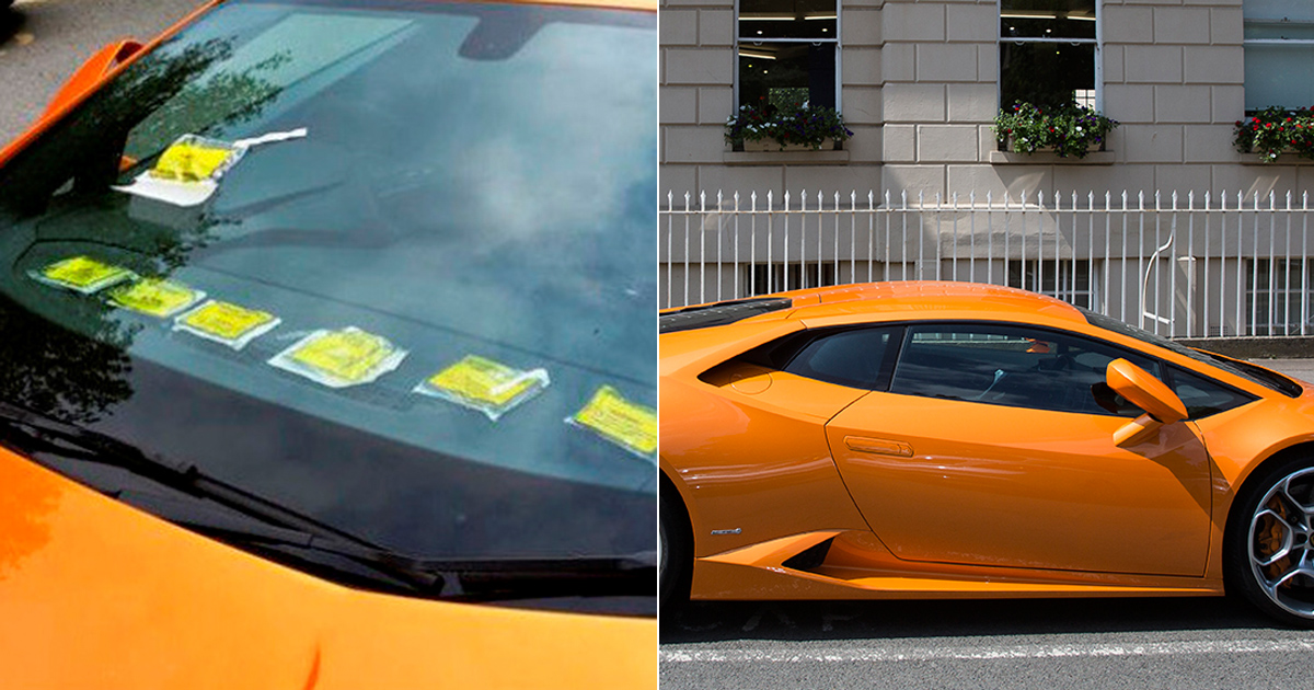 Lamborghini owner shows off parking tickets he got overturned on his dashboard