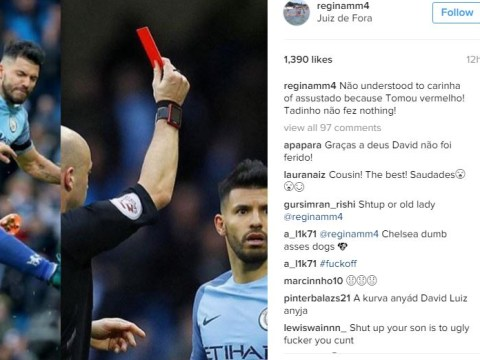 David Luiz's mum trolls Sergio Aguero after horror tackle in Man City v Chelsea game