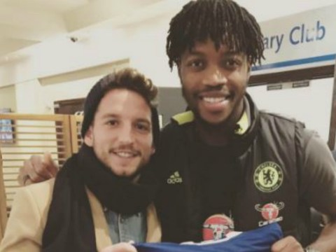 Napoli star Dries Mertens at Chelsea match to watch former teammate Nathaniel Chalobah