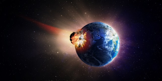 A very large asteroid hitting Earth; Shutterstock ID 121995268