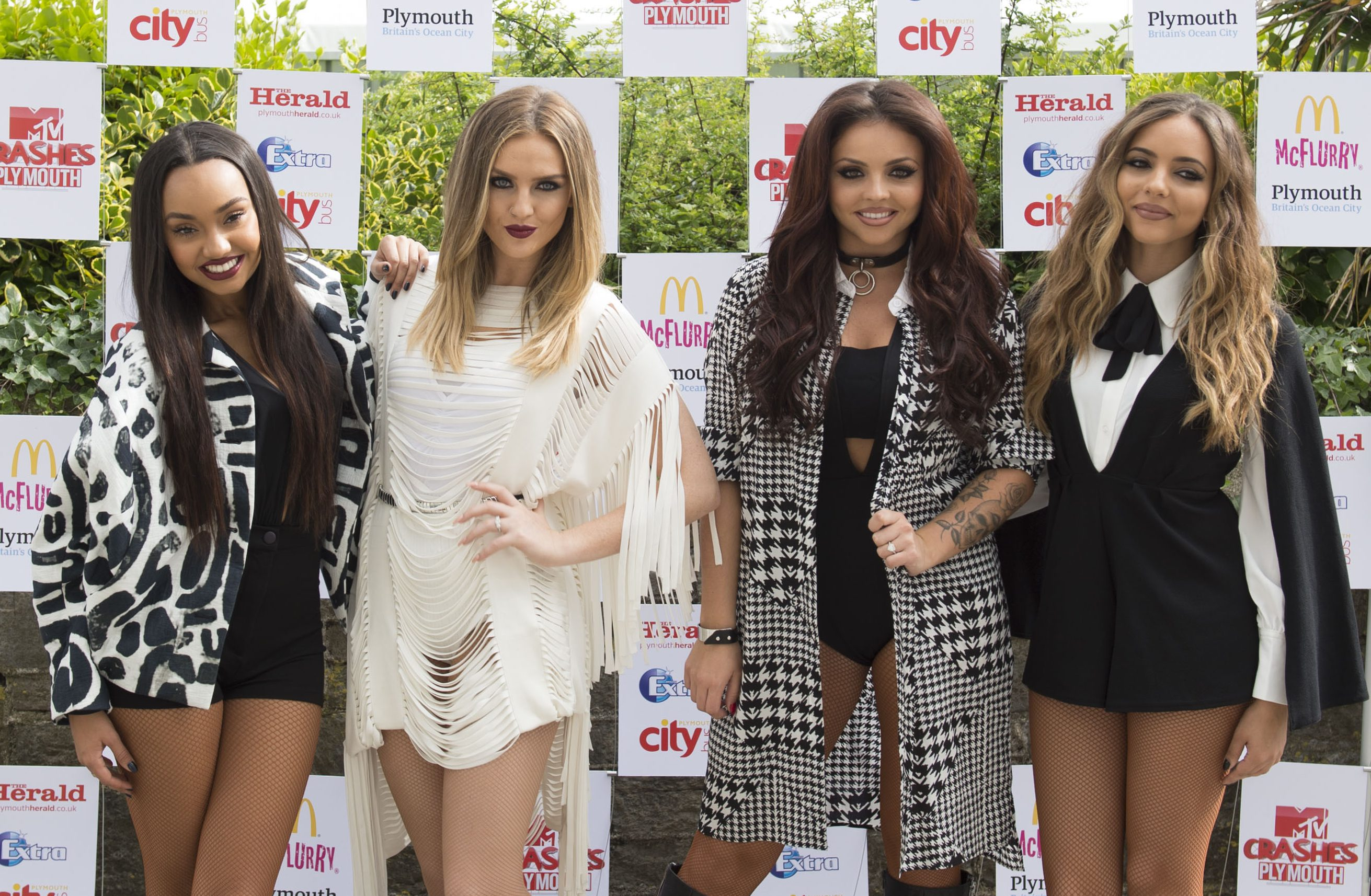 PLYMOUTH, ENGLAND - JULY 22: Leigh-Anne Pinnock, Perrie Edwards, Jesy Nelson and Jade Thirlwall of Little Mix pose for the media ahead of the MTV Crashes Plymouth concert at Plymouth Hoe on July 22, 2014 in Plymouth, England. (Photo by Matthew Horwood/Getty Images for MTV UK)