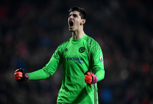 SUNDERLAND, ENGLAND - DECEMBER 14: Thibaut Courtois of Chelsea reacts after the final whistle during the Premier League match between Sunderland and Chelsea at Stadium of Light on December 14, 2016 in Sunderland, England. (Photo by Laurence Griffiths/Getty Images)