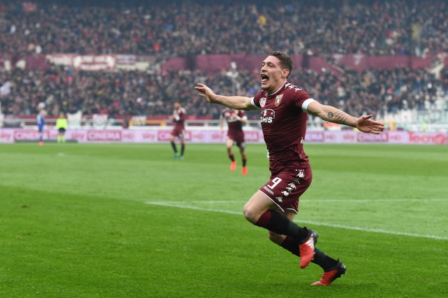 TURIN, ITALY - DECEMBER 11:  Andrea Belotti of FC Torino celebrates after scoring the opening goal during the Serie A match between FC Torino and Juventus FC at Stadio Olimpico di Torino on December 11, 2016 in Turin, Italy.  (Photo by Valerio Pennicino/Getty Images)