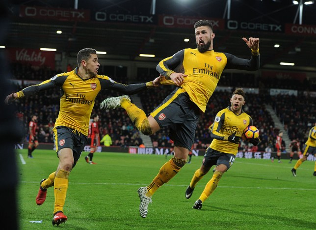 Giroud goes full Arsenal by unveiling new celebration for equaliser v Bournemouth