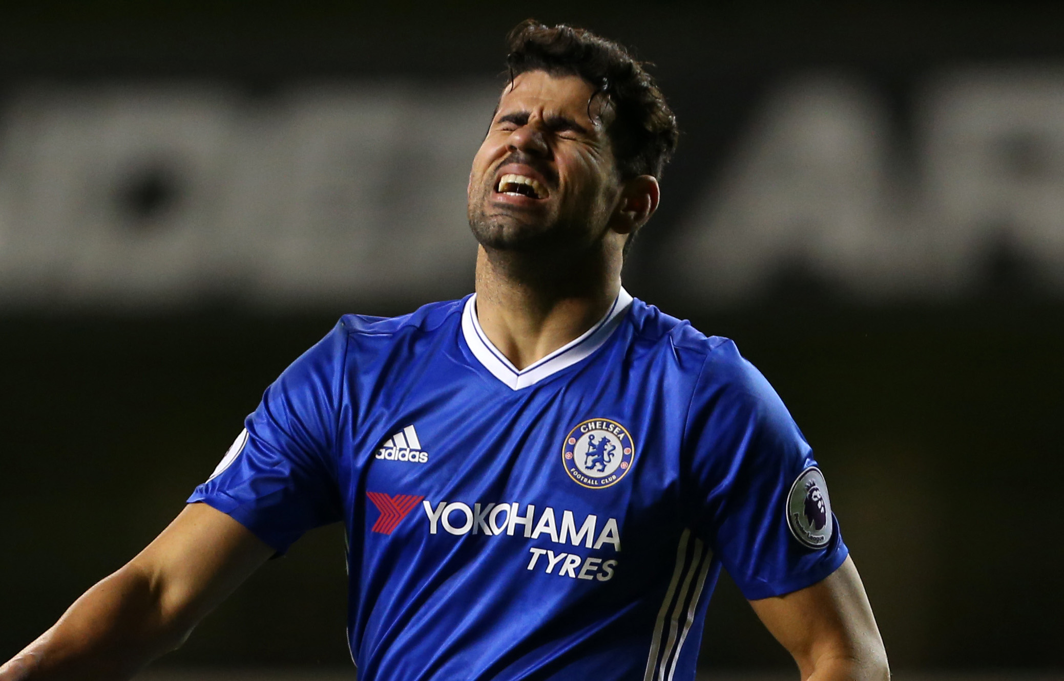 LONDON, ENGLAND - JANUARY 04: Diego Costa of Chelsea reacts during the Premier League match between Tottenham Hotspur and Chelsea at White Hart Lane on January 4, 2017 in London, England. (Photo by Catherine Ivill - AMA/Getty Images)