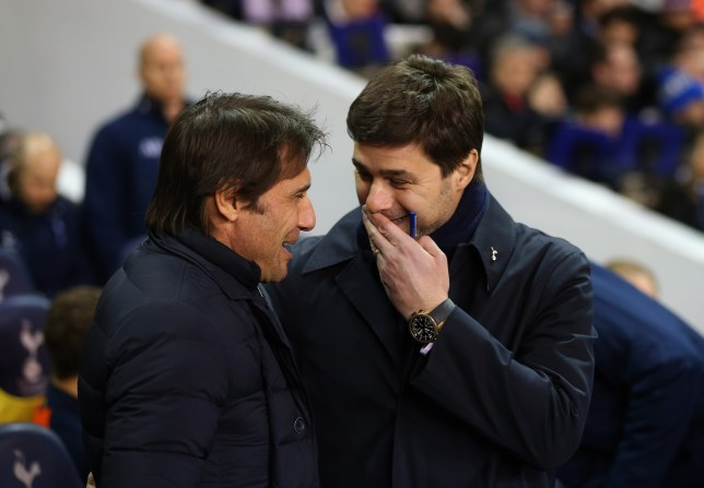 LONDON, ENGLAND - JANUARY 04: Antonio Conte manager of Chelsea and Mauricio Pochettino manager of Tottenham Hotspur during the Premier League match between Tottenham Hotspur and Chelsea at White Hart Lane on January 4, 2017 in London, England. (Photo by Catherine Ivill - AMA/Getty Images)
