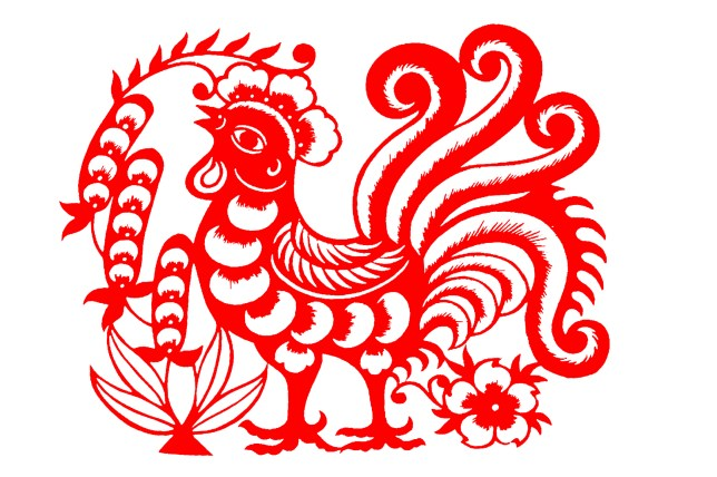 Red rooster paper cutting
