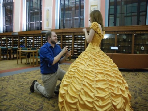 This woman got a Beauty And The Beast marriage proposal – and her fiancee recreated Belle's dress