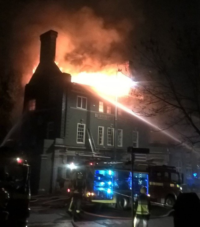 Handout photo taken from the Twitter feed of London Fire Brigade @LondonFire of a fire at The Aeronaut pub in Acton, west London, where hundreds of New Year's Eve revellers were evacuated after a blaze broke out. PRESS ASSOCIATION Photo. Issue date: Sunday January 1, 2017. See PA story FIRE Pub. Photo credit should read: London Fire Brigade/PA Wire NOTE TO EDITORS: This handout photo may only be used in for editorial reporting purposes for the contemporaneous illustration of events, things or the people in the image or facts mentioned in the caption. Reuse of the picture may require further permission from the copyright holder.