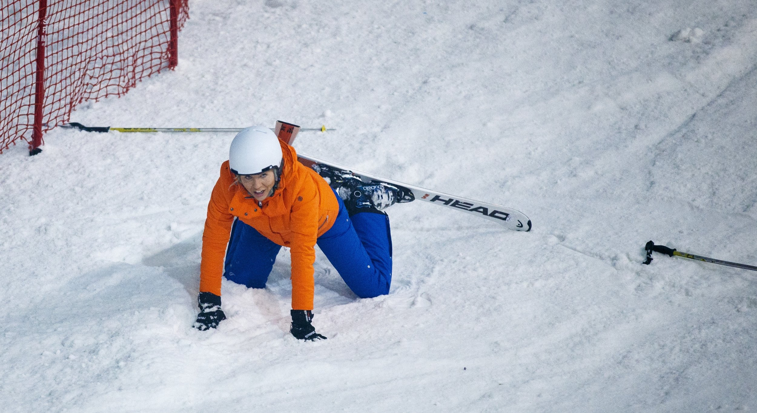 Lydia Bright falls victim to The Jump curse already as she faceplants during practice run