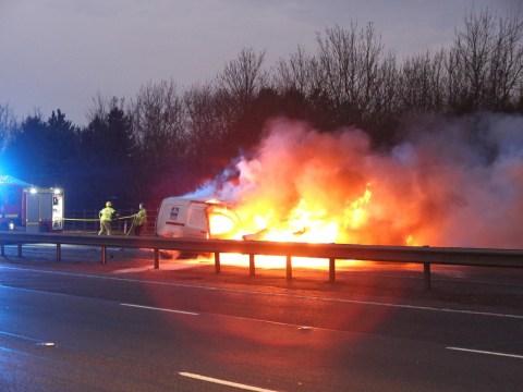 Crash on M40 motorway causes massive fireball