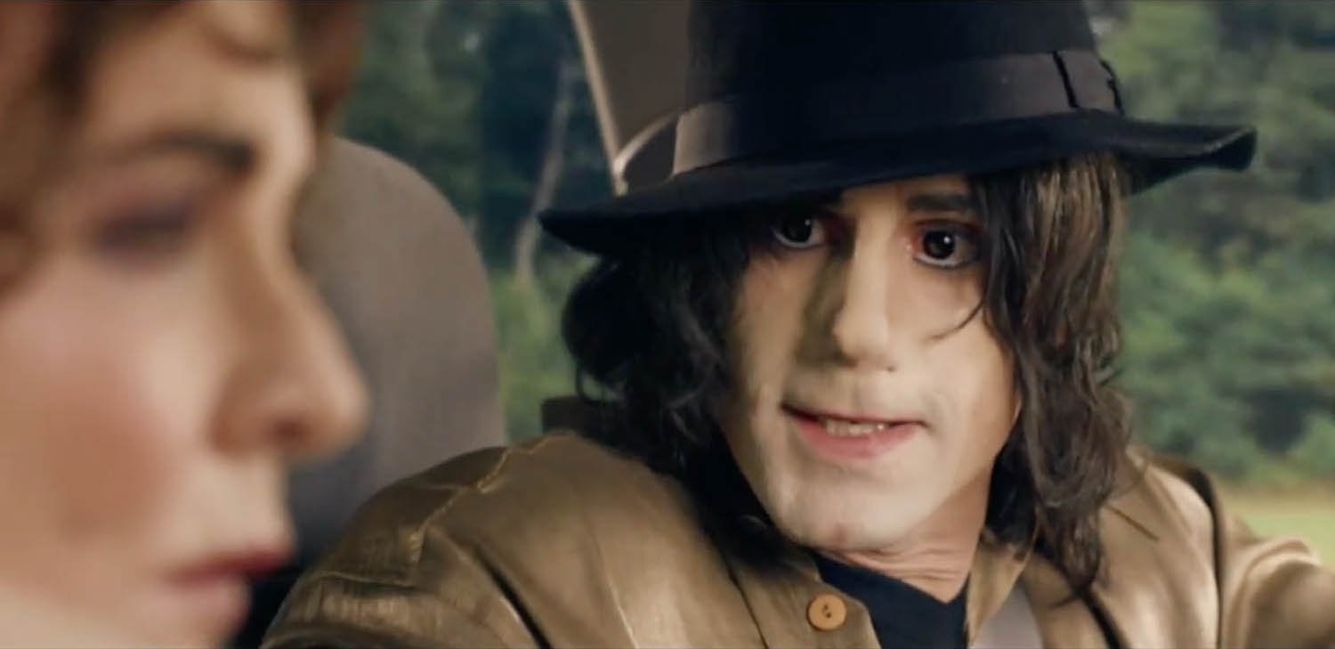 ****Ruckas Videograbs**** (01322) 861777 *IMPORTANT* Please credit Sky Arts for this picture. 11/01/17 SEEN HERE: Joseph Fiennes as Michael Jackson Grabs from the new trailer for the Sky Arts new collection of colmedies, called Urban Myths. The trailer see's Joseph Fiennes playing Michael Jackson, Stockard Channing as Elizabeth Taylor, Brian Cox as Marlon Brando, Eddie Marsan as Bob Dylan, Ben Chaplin as Cary Grant, Aidan Gillen as Dr. Leary, Davd Threlfall as Samuel Beckett, Iwan Rheon as Adolf Hitker and Rupert Grint playing Hitler's friend. Office (UK) : 01322 861777 Mobile (UK) : 07742 164 106 **IMPORTANT - PLEASE READ** The video grabs supplied by Ruckas Pictures always remain the copyright of the programme makers, we provide a service to purely capture and supply the images to the client, securing the copyright of the images will always remain the responsibility of the publisher at all times. Standard terms, conditions & minimum fees apply to our videograbs unless varied by agreement prior to publication.