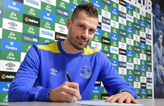 HALEWOOD, ENGLAND - JANUARY 11: (EXCLUSIVE COVERAGE) New Everton signing Morgan Schneiderlin poses for a photo at USM Finch Farm on January 11, 2017 in Halewood, England. (Photo by Tony McArdle/Everton FC via Getty Images)