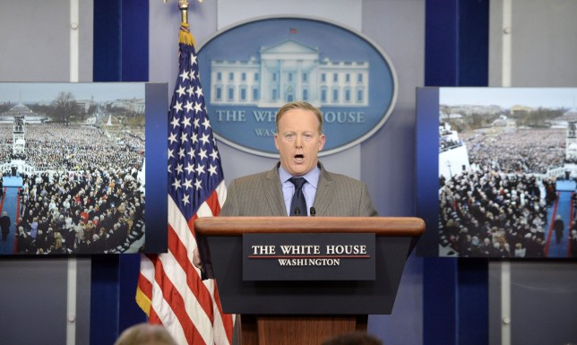 Mandatory Credit: Photo by REX/Shutterstock (7945976b) White House press secretary Sean Spicer delivers angry remarks as he speaks in the press briefing room in Washington, DC. Spicer was upset over what what he considers to be inaccurate and unfair press coverage over the past 48 hours. Sean Spicer press briefing at the Whitehouse, Washington DC, USA - 21 Jan 2017