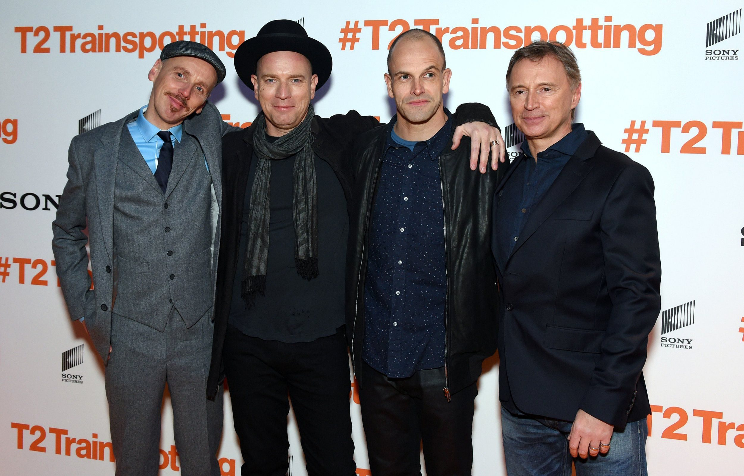 EDINBURGH, SCOTLAND - JANUARY 22: (L-R) Actors Ewen Bremner, Ewan McGregor, Jonny Lee Miller and Robert Carlyle attend the 'T2 Trainspotting' world premiere on January 22, 2017 in Edinburgh, United Kingdom. (Photo by Anthony Harvey/Getty Images)