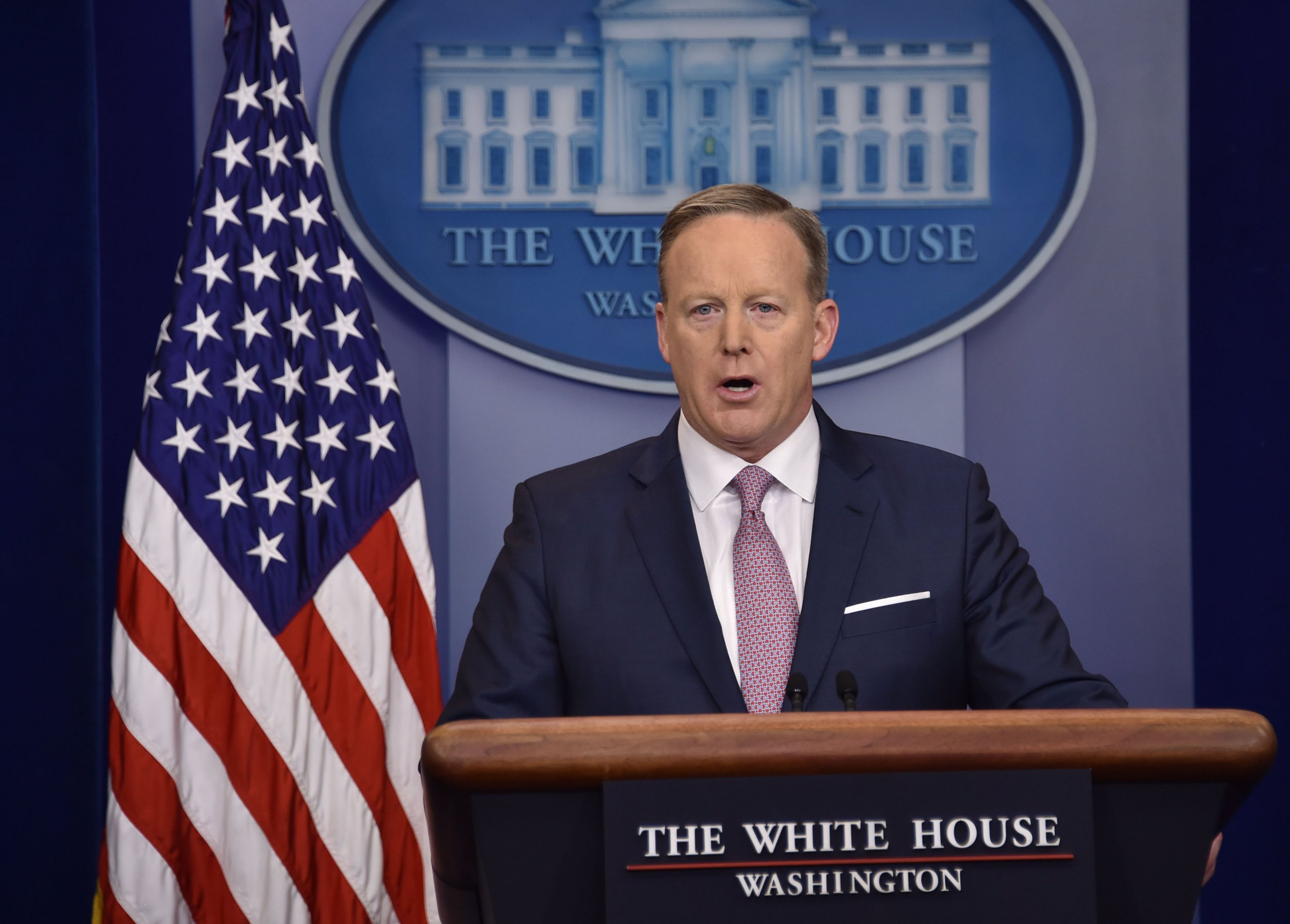 White House Press Secretary Sean Spicer holds the daily press briefing January 23, 2017 at the White House in Washington, DC. / AFP PHOTO / Nicholas KammNICHOLAS KAMM/AFP/Getty Images