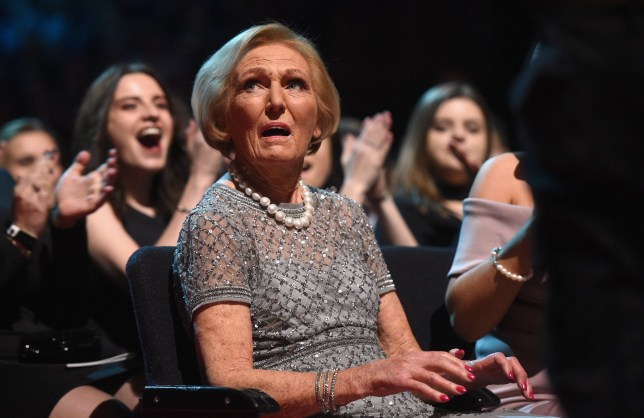 LONDON, ENGLAND - JANUARY 25: Mary Berry reacts to winning the Best TV Judge during the National Television Awards at The O2 Arena on January 25, 2017 in London, England. (Photo by Stuart C. Wilson/Getty Images)