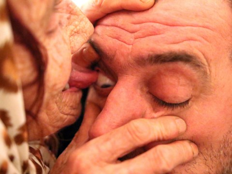 Would you pay this elderly woman to lick your eyeballs clean?